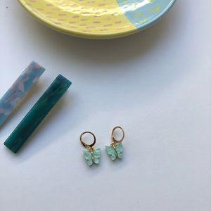 Blue/green butterfly earrings